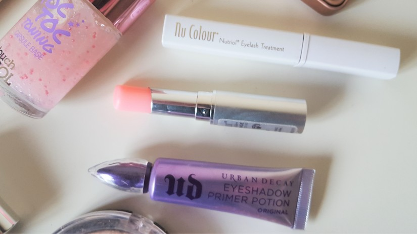 Urban Decay Eyelid Primer, Nu Skin Lip Balm, Nu Colour Lash Treatment